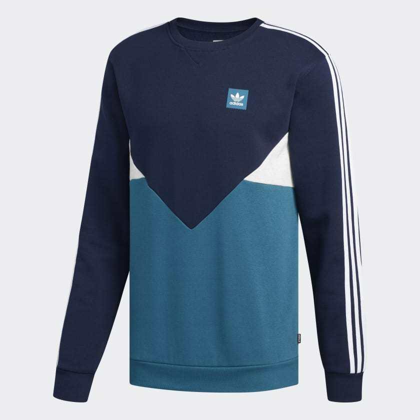 100% De Qualité Adidas Skateboarding Premiere Crew Sweat-shirt Bleu Marine/turquoise/blanc Brillant En Couleur