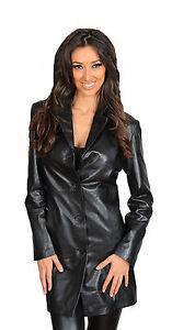 Casual Coat Rachel Jacket Classic Length Mac Black Knee Leather Womens Trench dnvAx7dw