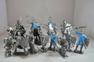 Painted-Crusader-Medieval-Knights-Cavalry-Foot-Soldiers-60MM-Blue-Silver-Plastic