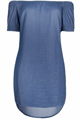 Womens Denim Off The Shoulder Bardot Side Split Curved Hem High Low Shirt Dress