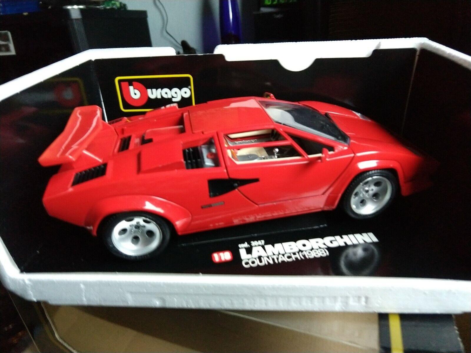 1 18 MODELLAUTO Metal burago Lamborghini Countach 1988 3047 rot