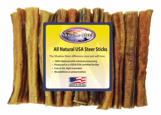 25 Count 6 inch THICK Shadow River USA STEER Bully Sticks Dog Treats Chew