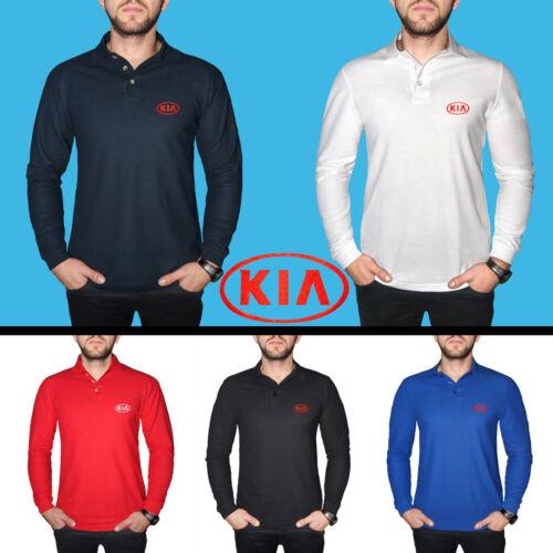 KIA Long Sleeve Polo T Shirt COTTON EMBROIDERED Auto Car Logo Mens Clothing Gift