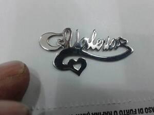 1 COLLANA argento 925 45CM personalizzatA tuo nome con disegno cuore e ghirigoro