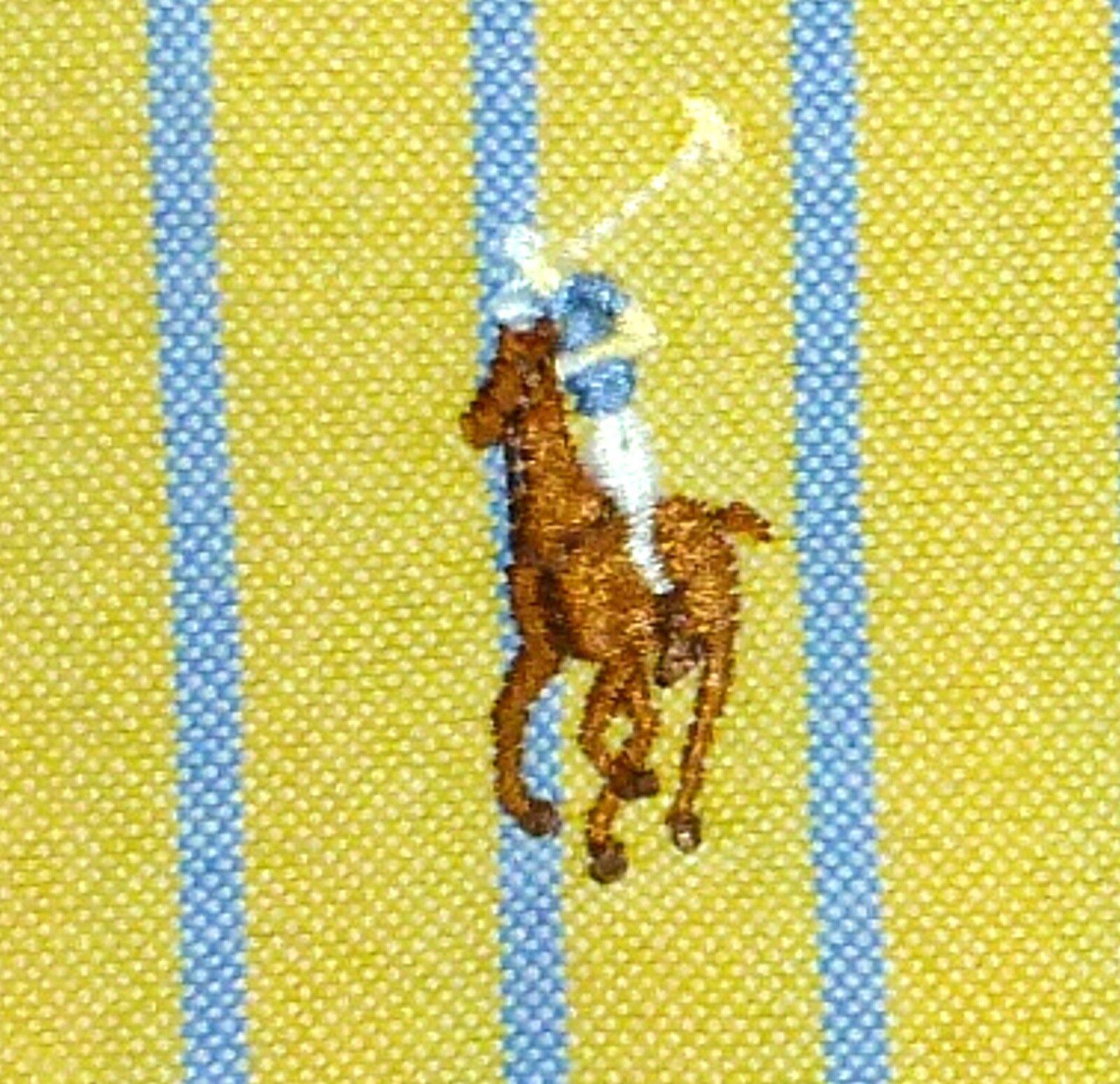 15.5 32-33 M RALPH LAUREN CLASSIC FIT TAN POLO PONY blueE YELLOW STRIPE MEN SHIRT