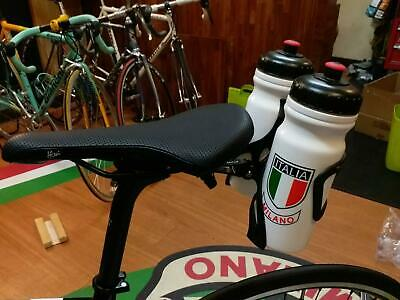 Double Rack Water Bottle Cage Holder with Rail of Saddle Mount Silver