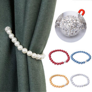 Faux-Pearl-Magnet-Buckle-Curtain-Tieback-Clip-Window-Strap-Holder-Home-Decor