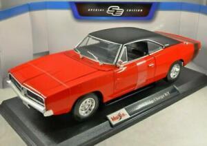 Dodge-Cargador-R-t-1969-modelo-diecast-escala-1-18-Nuevo-Juguete-Auto-En-Miniatura-Rojo