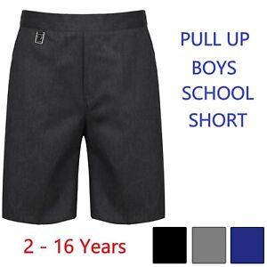 Boys-Pull-Up-School-Shorts-Pull-On-Age-2-3-4-5-6-7-8-9-10-11-12-13-14-Black-Grey