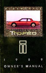 1989 Oldsmobile Toronado Owners Manual 89 Olds Owner Excellent ...