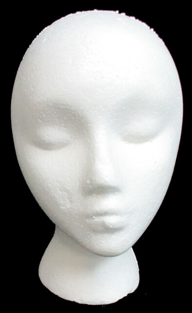 White Female Styrofoam Head with Slat Wall Mount Mannequin Wig Hat Display