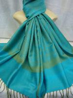 Paisley Print Pashmina Scarf Shawl Warp Turquoise Green