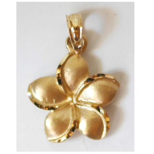 "E2654-40 1//2/"" 12 mm 14K Solide Or Jaune Hawaïen Plumeria Flower Charm W"