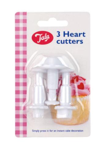 Tala 3 Pièce Cœur Piston Cutters Pour Glaçage Sucre Gâteau Décoration 0432