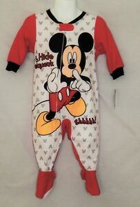 NEW Mickey Mouse Disney Baby Pajamas Sleep Outfit Bodysuit Creeper 9 12 Months