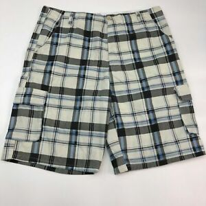 Street-Rules-Cargo-Shorts-Mens-40-Blue-White-Black-Cotton-Blend-Plaid-Zip-Fly