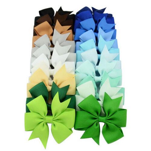 40X Boutique Hair Bows Girls Kids Alligator Clip Grosgrain Ribbon Hair Clips LP