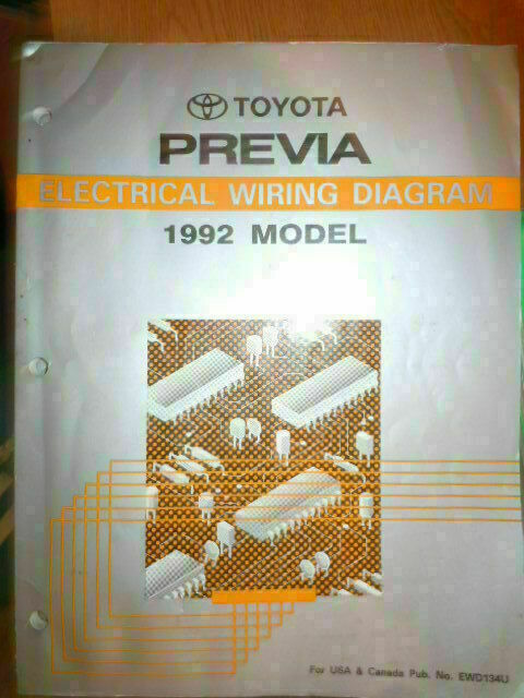 1992 Toyota Previa Electrical Wiring Diagram Service