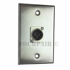1-port Socket 3-pin Xlr Mâle En Acier Inoxydable Microphone Mic Audio Plaque Murale Neuf-afficher Le Titre D'origine