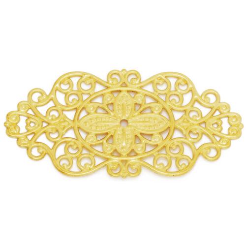20pcs 57*28mm Filigree Flower Rhombus Connector Links,Brass Made