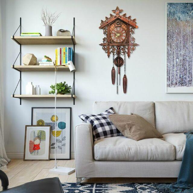 Wooden Modern Art Vintage Style Cuckoo Clock Wall Clock Alarm Home
