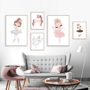Nordic-Poster-Pictures-Swan-Horse-Cartoon-Wall-Painting-Girl-Room-Decor-Surprise