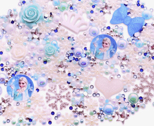 Frozen Thème Bleu Cabochon Strass Perle Ensemble Kit Bricolage Decoden Kawaii Craft UK