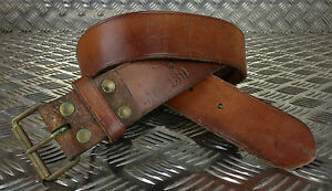 Genuine Swedish Army Unique Vintage Brown Leather Trouser Belt - All Sizes Lot2