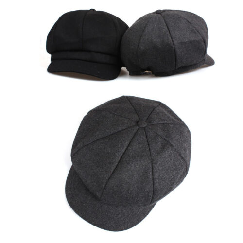 Unisex Mens Wool Plain Unicolor Bakerboy Cap Newsboy Cabbie Gatsby Driver Hats