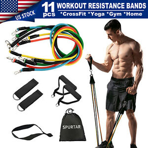 11 PCS Yoga Pilates Resistance Bands Set Abs Exercise Fitness Tube Workout Bands