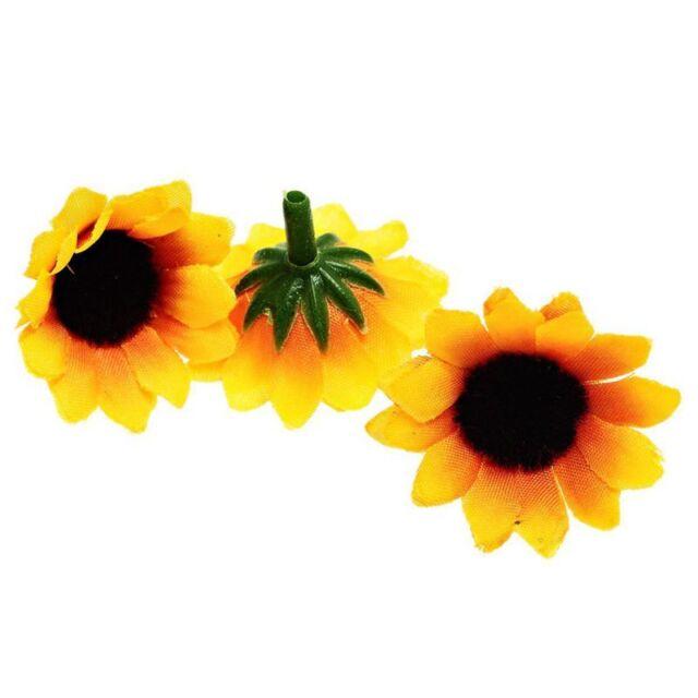 100 Pcs Artificial Sunflower Little Daisy Gerbera Flower Heads for Wedding V5B4