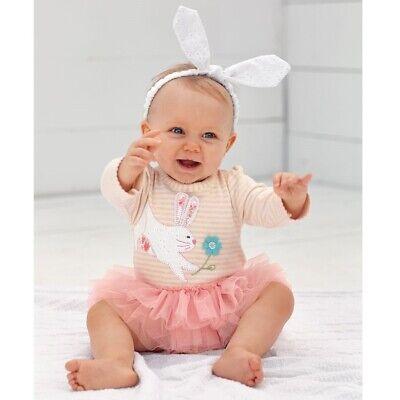 SALE-Mud Pie Baby Girl Easter Bunny Tutu Crawler 0-3M