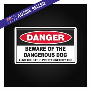 FUNNY-Dangerous-Dog-and-Sketchy-Cat-Sticker-Decal-Front-Door-Wall-Window-Yard