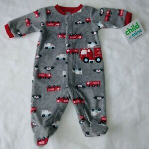 72c1894c9b57 Cute Child of mine Preemie boy Gray with fire truck fleece footed ...