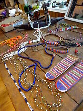 Lot Authentic Vtg c1950s African Tribal Beads Ornaments Masai Kenya Earflaps