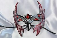Metal Halloween Black Red Devil Midnight Masquerade Ball Costume Dance Party Fun