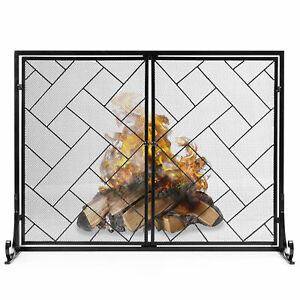 BCP-44x33in-2-Panel-Wrought-Iron-Geometric-Fireplace-Screen-w-Magnetic-Doors
