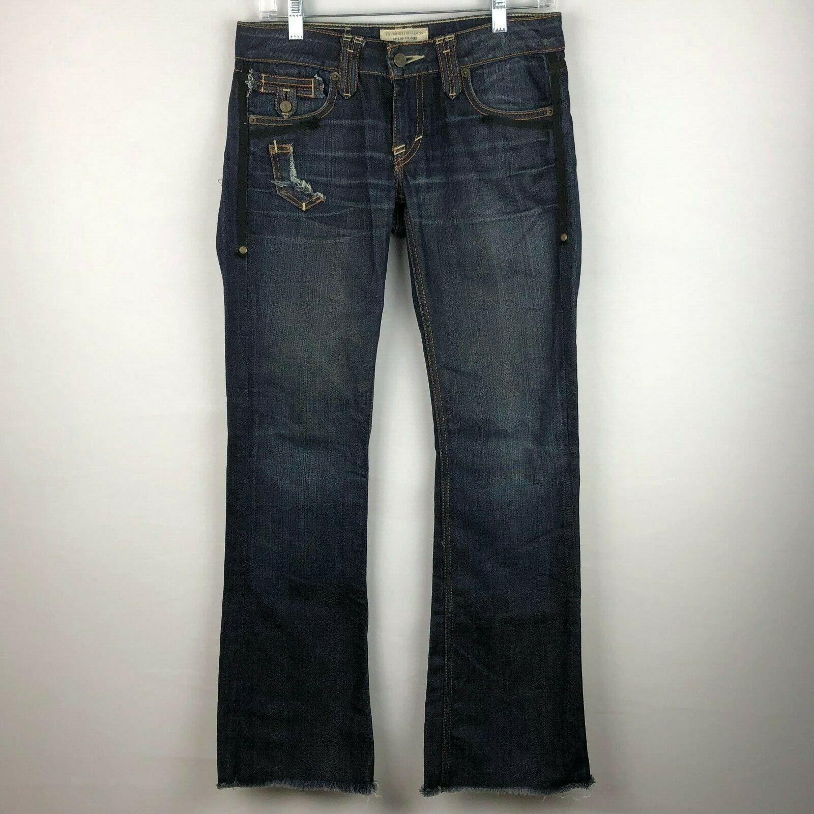 Taverniti So damen 27 Janis Jeans Fringed Hems Dark Wash Act 30 X 31