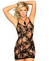 Floral Babydoll Lingerie Set 1x Women Plus Panty Black Lace Tank Dress Nightie