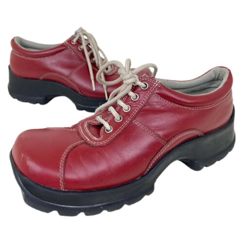 Vintage 90s STEVE MADDEN Cherry Red Leather Chunk… - image 1