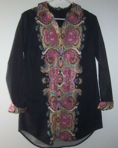 Go-Silk-Collared-Flip-Cuffed-Button-Front-Tunic-Top-Women-M-Black-Cotton-Paisley