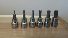 "Halfords advanced 3/8"" hexagon allen sockets (hex Torx 1/4 1/2) 3 to 10mm metric"