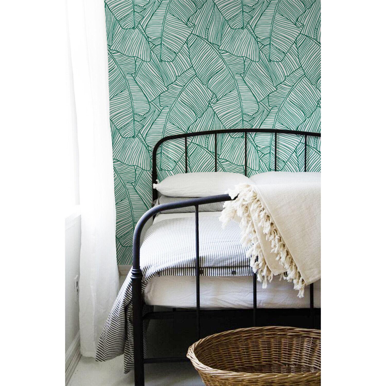Aqua leaves Pattern Non-Woven Wallpaper roll white mural Traditional Home Decor