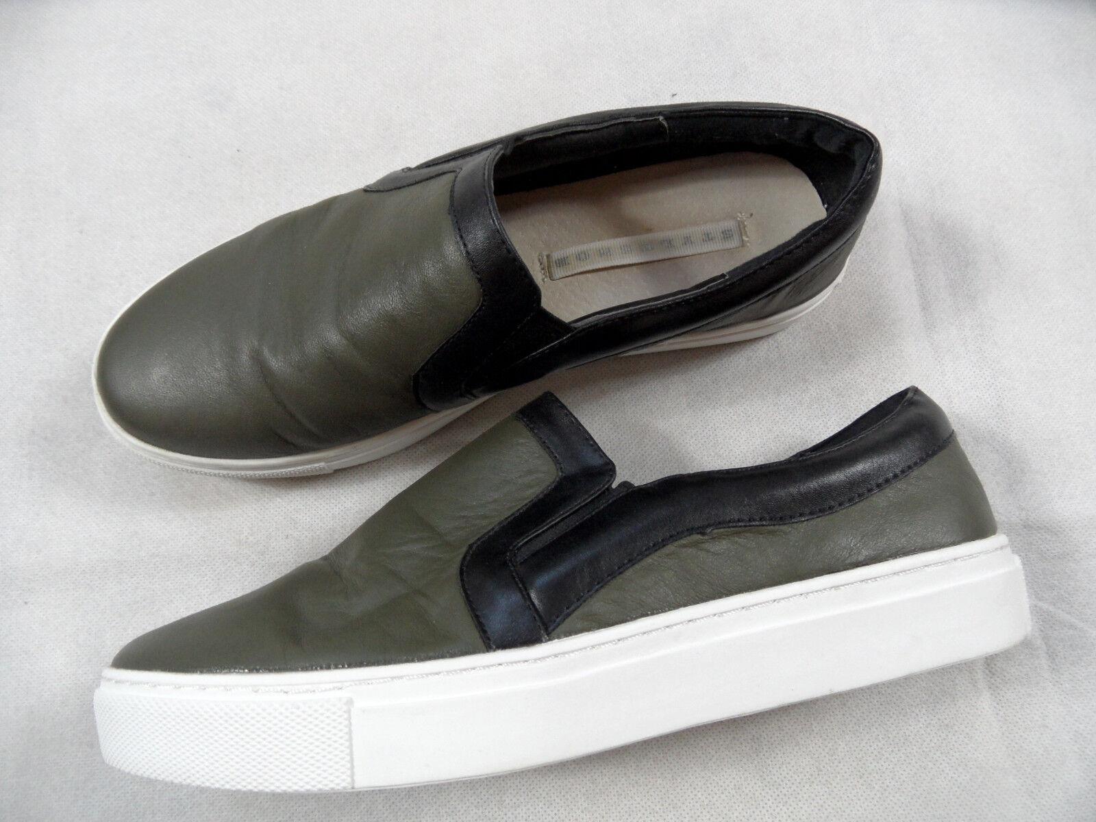 STYLESNOB stylische Leder Sneakers zum Reinschlüpfen khaki black Gr. 37 BB718