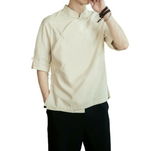 Mens Chinese style Cotton Linen T-Shirt Tops Stand collar 3//4 Sleeve Plain New