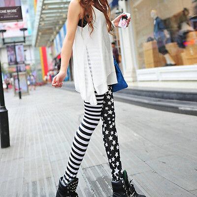 Punk Style Sexy Lady Womens Stripe Star Skinny SlimStretchy Leggings Pants