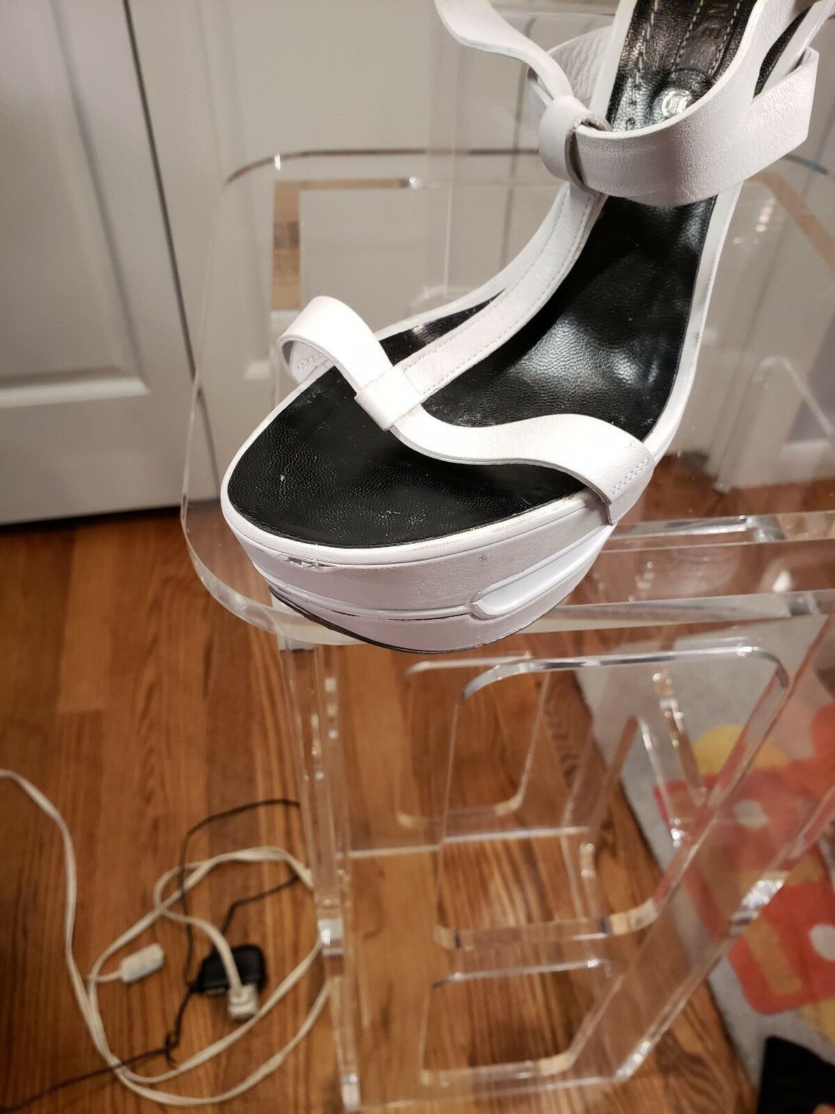 CELINE Runway cuir cuir cuir blanc compensées à brides cheville Wrap Chaussures Bo  1500 SZ 37.5 ed3c7d