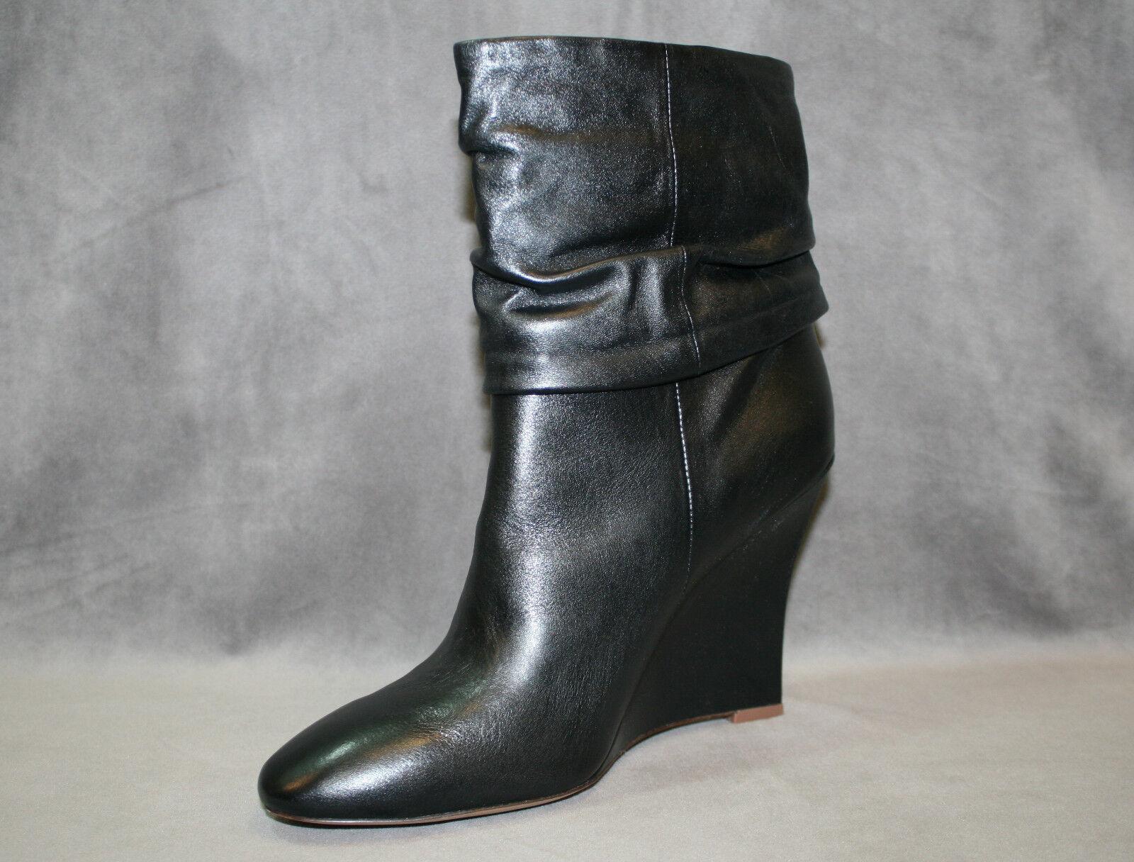 NEW ELIE TAHARI BLACK BLACK TAHARI LEATHER FALLON BOOTIE WEDGE Stiefel Schuhe SZ 40.5 US 10.5 918936
