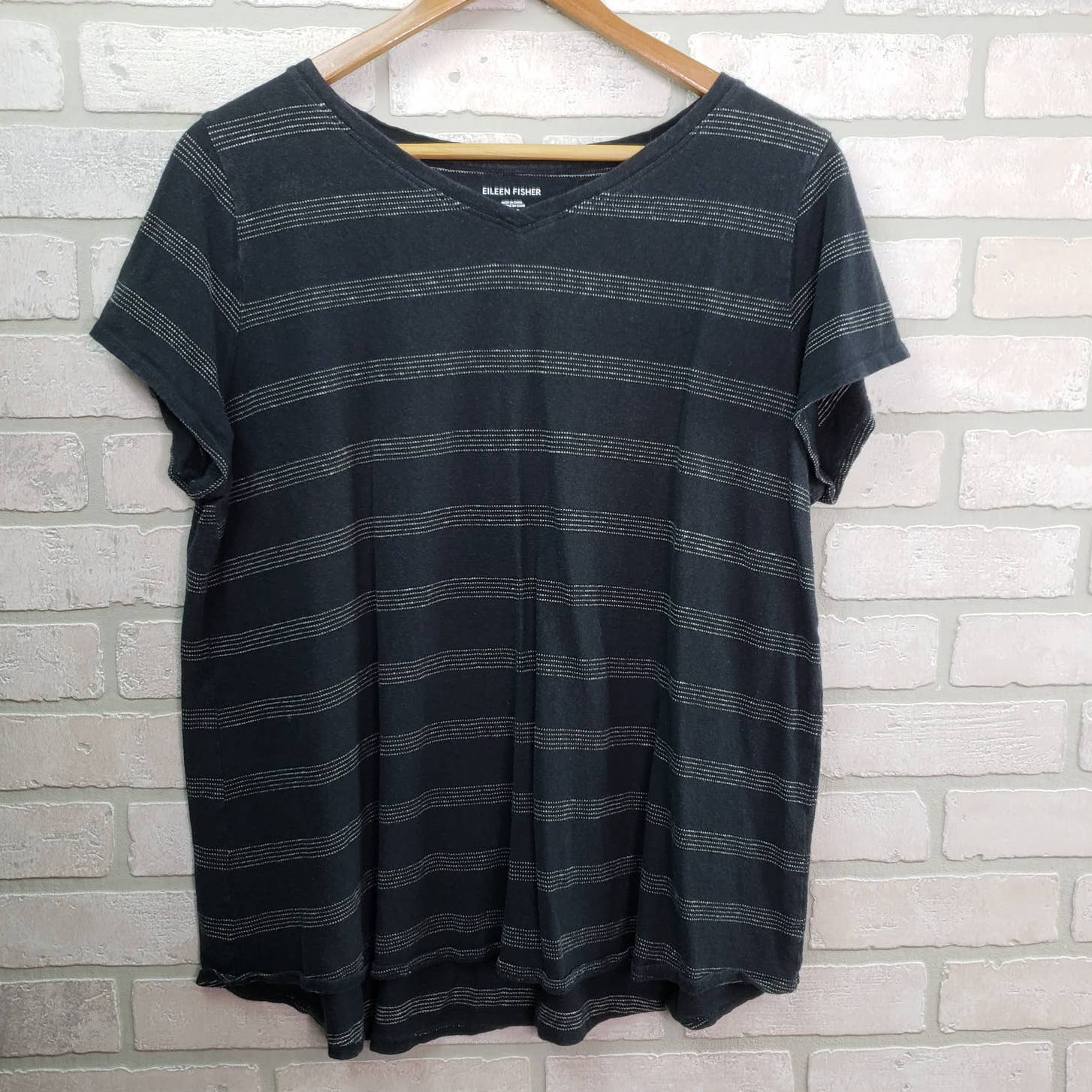 Eileen Fisher Tee Short Sleeve XL Striped Hemp Organic Cotton Blend