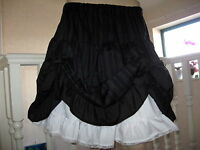 Black White Pinstripe Petticoat Hitch Up Lace Skirt Lolita Goth Lagenlook